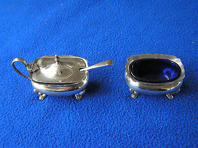 English set of sterling  silver and cobalt glass salt and mustard pot UK