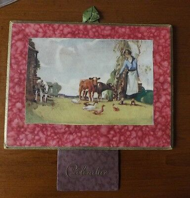 Calendar 1936 - Complete Showing a Girl Walking Among Cattle and Geese.