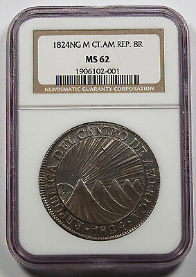 Central America Republic 1824 NG M Guatemala 8 Reales Silver Coin NGC MS62 UNC