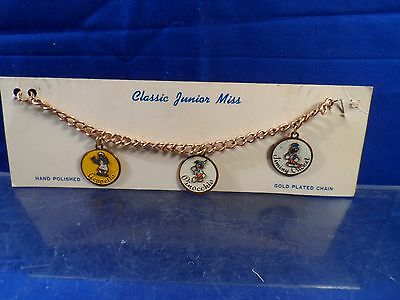 Vintage Disney Pinocchio Jiminy Charm Bracelet Classic Junior Miss on Card RARE!
