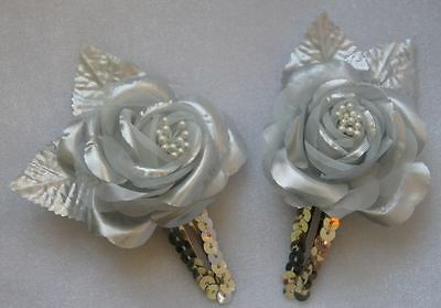 Brand NEW! GORGEOUS GIRLS SNAP CLIP HAIR ACCESSORIES SILVER ROSE 2 pc