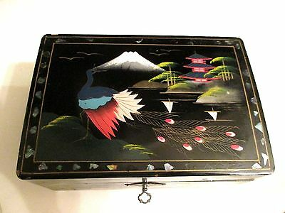Vintage Antique/japanese Black Lacquer Hand Painted Jewelry Music  Box With Key
