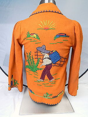 Vintage Girls Embroidered Orange Wool Jacket Mexican Southwestern Tunic Small XS