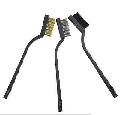 Mini Wire Brushes Set 3X Brass Nylon & Stainless Steel Bristle Jewelry Cleaning