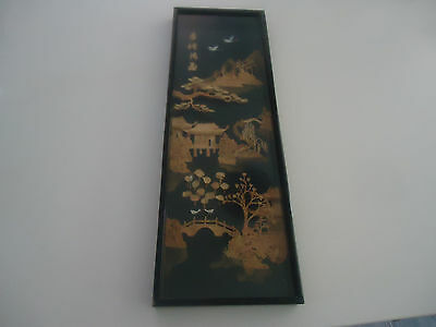vintage carved cork chinese wall picture behind glass crane birds