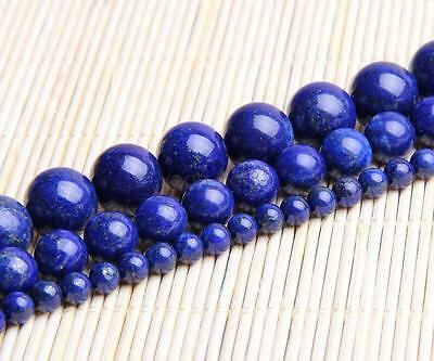 "Natural Lapis lazuli Gemstone Round Loose Spacer Beads 16"" Strand 4-12mm"