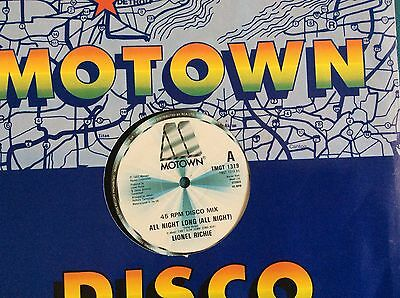 "Lionel Richie , All Night Long 12"" single vinyl Motown Records. Ex"
