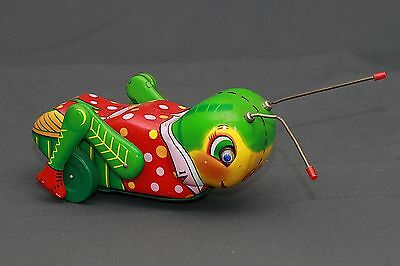RARE Modern Toys Japan 60's Battery Operated Happy Grasshopper Bug Tin Toy WORKS