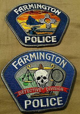 2 Farmington NM Police Patches Patrol and Detective Division Skull