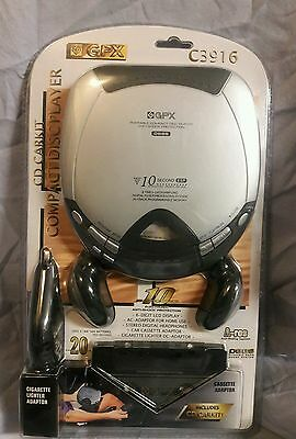 * NEW & FACTORY SEALED GPX Portable CD Player C3916 Walkman Diskman, cd carkit