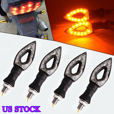 4x 12 LED Motorcycle Turn Signal Lights Indicator Tail Amber Lamp Blinker Bobber