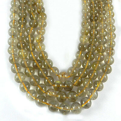 1 strand 10mm Round Golden Rutile Gemstone smooth Beads Necklace Jewelry ER2810