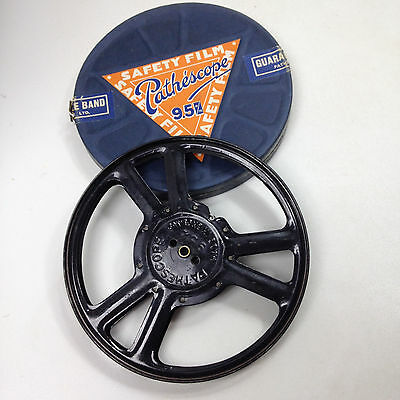 VINTAGE PATHESCOPE 9.5m/m EMPTY SPOOL REEL with Box Safety Film Made in England