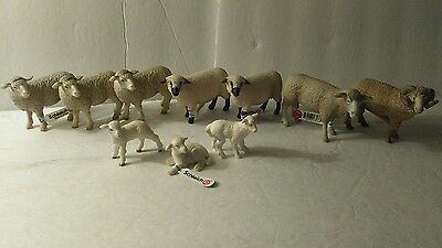 Lot of 10 Schleich Animals Farm Sheeps and Lambs.Figurines