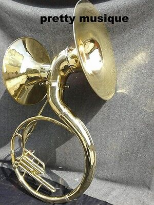 """Sousaphone Double Bell Sound (22"""" +16"""" Bell)In Brass Golden +Free Case & Mouthpc"""