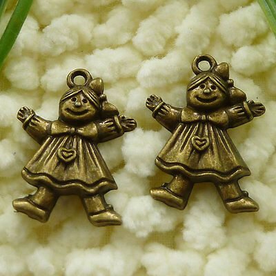 Free Ship 120 pieces Antique bronze girl charms 24x17mm #1119