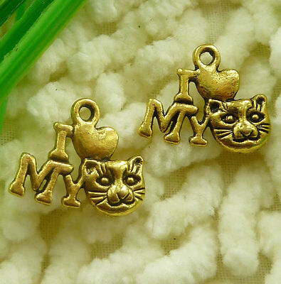 Free Ship 80 pieces gold plated cat charms 17x14mm #2144