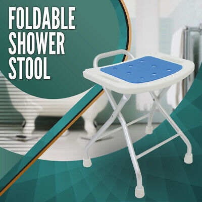 Foldable Aluminium Shower Seat Chair Stool Bench Soft Pad Folding