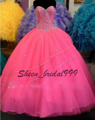 Hot Pink Organza Prom Ball Gown Quinceanera Dresses for 15 Years Custom Made2-28