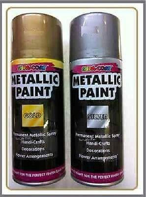 Metallic SILVER + GOLDEN permanent lacquer spray paint 2 can Of 110ml each