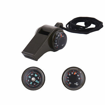 New Multi-functional 3 in 1 Whistle for Seeking Help with Thermometer Compass