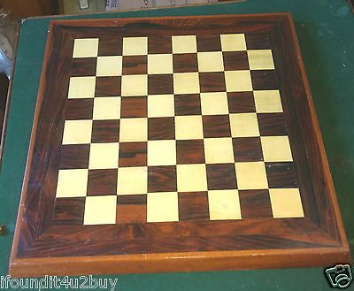 Vintage Wooden Tabletop Chess / Checkerboard - Rosewood?