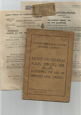 LMSR - Note Book 1937 - Ticket 1941 (Military) - 4 x Documents 1925-42 good cond