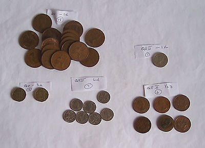 Coins set - Queen Elizabeth II -- Sterling coins - various values c30+ good cond
