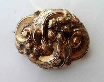 Antique VICTORIAN Gold Gilt Fancy Floral Hollow Puff Brooch