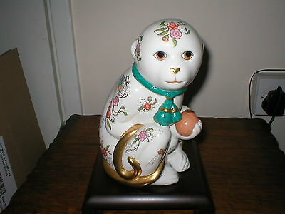 Franklin Mint Large Figure The Imperial Monkey Of Satsuma  With Stand  Boxed