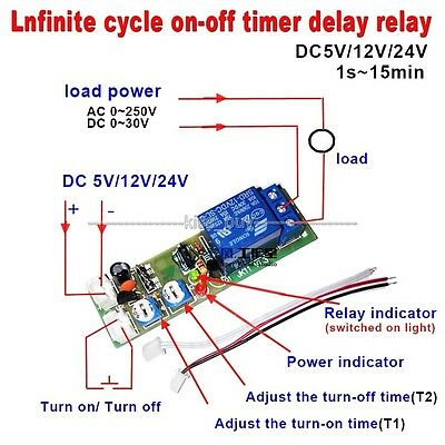5V 12V 24V 1S-15MIN Infinite Cycle Delay Timing Timer Relay ON OFF Switch Module