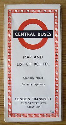 Central Buses Map and & List of Routes 1964