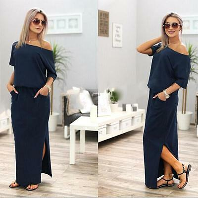 Fashion  Women Summer Long Maxi BOHO Evening Cocktail Party Dress with Pocket