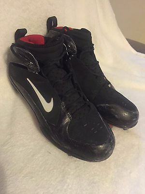Plaxico Burress #17 Game used cleats NFC Final 2008 Giants vs Packers Nike Vick