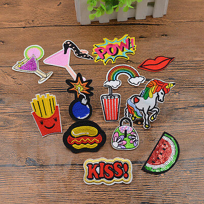 3 Pcs Embroidered Sew Iron On Patches Applique Badge Clothes Bag Decor DIY Craft