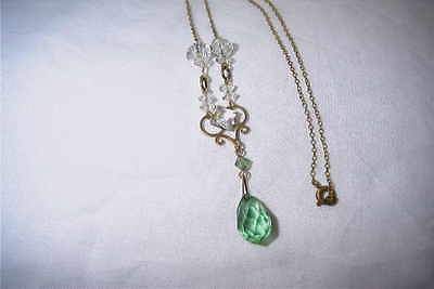art deco necklace green and clear crystal drop