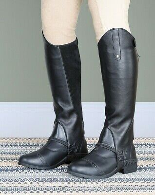 New! Shires Children's Black Synthetic Leather Gaiters / Half Chaps S-L