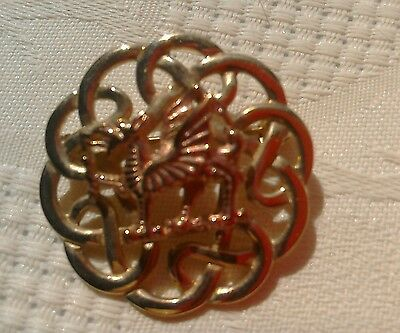 Stunning Welsh 9ct Yellow & Rose Gold Welsh Dragon Celtic  Brooch.
