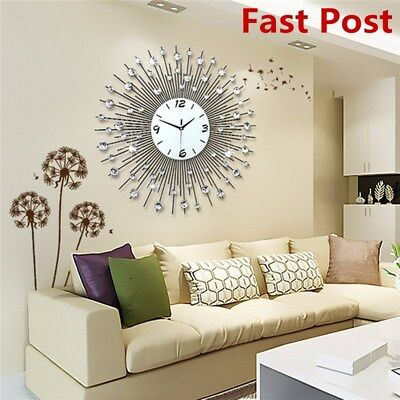 Modern 3D Luxury Art Metal Living Room Round Diamond Wall Clock Home Decor New