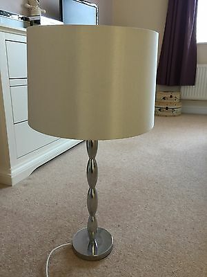 Silver Effect Lamp with Silver/Grey Shade