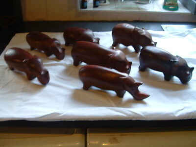 Job lot African carvings-Hippos and Rhino
