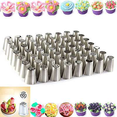 56Pcs Russian Flower Icing Piping Nozzles Cake Decoration Tips Baking Tools Kits