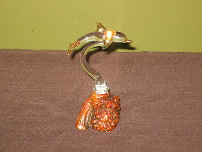 Vintage hand blown Glass Dolphin mounted on Burl Wood Base