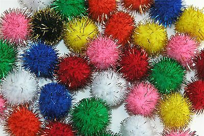 Glitter Pom Poms Pack of 100 Assorted Colours Mixed Sizes pompoms Tinsel