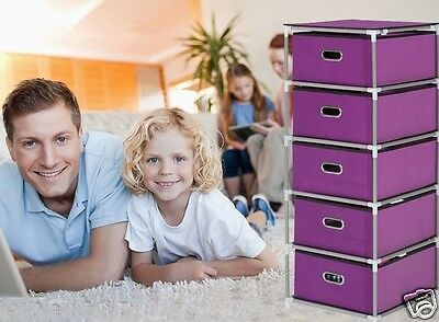 Purple Dust-Proof Steel Frame Thicker Non-Woven Cloth DIY Storage/Corner Cabinet