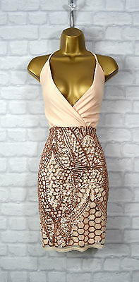 ~MAYRA~ Nude & Gold Sequin Celeb Bodycon Evening Mini Party Dress 8 10 12 14