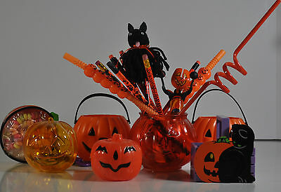 Lot Of Halloween Favors And Giveaways: Pumpkins, Pencils, Candy Sac, Noise Maker