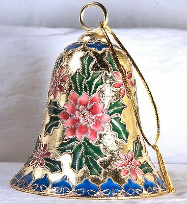 #2640 Poinsettia and Holly Ceramic Bell Ornament