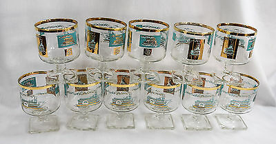 "Libbey - Southern Comfort - Riverboat - Steamboat -Pedestal Glasses 4"" Lot of 11"