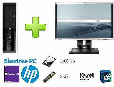 "HP 8100 SFF i5 1TB 8GB WiFi W10 Pro Desktop Computer PC + 22"" HP LCD Monitor"